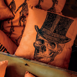 Seasonal Pillow - Skeleton with Top Hat - This line features products that have been hand crafted. Small differences in shape, size, surface, and finish should be expected and lend individuality and charm to each piece.