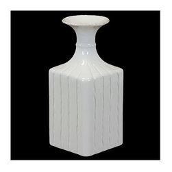 Urban Trends Collection - 11.5 in. White Square Ceramic Flower Vase - 5 in. W x 11.5 in. L x 11.5 in. H