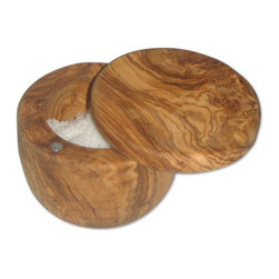 "Berard - Berard Olive Wood Salt Keeper - 3.9"" - 4.2"" - Salt has a variety of uses in the kitchen.  Use this Berard olive wood salt keeper to store salt on your counter top or shelf.  Salt can be used to preserve food, season or just make prep work a little easier.  Try sprinkling your hands with a little salt, to get a good grip on a piece of fish.  This works perfectly when you are taking the skin off.  Keeper is hinged with a magnetic closure, measures 3.9 at the base to 4.2 at the top and is 14.25 ounces.  Hand wash only, never to be put in a dishwasher."