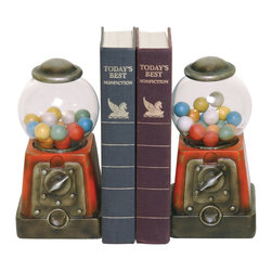Sterling Industries - Sterling Industries Pair Candy Treasure Bookends X-5529-39 - This pair of Sterling Industries bookends are sure to delight thanks to their classic gum ball machine shape. With metal hardware and clear glass, this pair of candy treasure bookends is a delightful addition to a children's playroom, a kitchen or elsewhere. The machines come complete with faux gum balls.