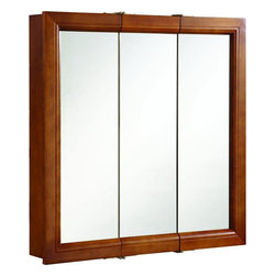 "Hardware House - Plumbing - 11-5667 Man 30X30 Medicine Cabinet - MANCHESTER COLLECTION MEDICINE CABINETS  Tri-view Surface Mount Medicine Cabinet  Solid Aspen door frames  Side and bottom panels are Birch overlay  Assembled  30""W x 6""D x 30""H          11-5667 MAN 30X30 MED CABINET    COLOR:Chestnut finish"