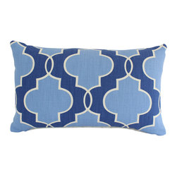 The Pillow Studio - Both Sides- Lumbar Pillow Cover with Blue and Ivory Geometric Design - This lumbar pillow cover is blue and ivory with a strong geometric design; the design is softened with the various shades of blue.