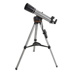 Celestron 90 LCM Computerized Telescope - Celestron 90LCM Computerized Telescope - General Features High quality 90 mm refractor Lightweight Computerized Mount Built-on StarPointer finderscope to help with alignment and accurately locating objects Quick-release computerized base optical tube and accessory tray for quick no tool set up Sturdy aluminum tripod and accessory tray included Good for terrestrial and celestial observing Includes CD-ROM The SkyX Astronomy Software which provides education about the sky and printable sky maps 90LCM Computerized Telescope - Computerized Mount Features Proven NexStar computer control technology Database allows telescope to locate over 4 000 celestial objects SkyAlign allows you to align on any three bright celestial objects making for a fast and easy alignment process Flash upgradeable hand control software and motor control units for downloading product updates over the Internet Internal battery compartment to prevent cord wrap during use Compatible with optional NexRemote telescope control software for advanced control of your telescope via computer