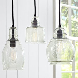 Paxton Glass Single Pendants - I adore these hanging pendant lights! They're pretty, functional and nostalgic.