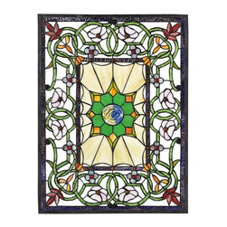 Home Decorators Collection - Richmond Art Glass Medium Rectangle - Enjoy the beauty of sunlight streaming through richly colored art glass windows in your own home. This lovely stained glass window mounting is meticulously crafted using hand-cut glass that is carefully soldered together. With its stunning pattern and array of beautiful colors, this art glass is sure to be a favorite among your sophisticated home decor. Includes elegant leaded frame. Pattern may vary slightly according to dimension. Most art glass windows can be hung vertically or horizontally; call for further details.