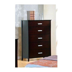 Coaster - Stuart 5-Drawer Chest - Handsome chest of drawers stands straight and tall with just the slightest widening as you reach the top.  Made of solid wood with a Cappuccino finish, chest has five drawers with contemporary brushed steel handles.  54 inches high.  Chest consists of five drawers, four of which are equal size.  Solid wood construction makes it extremely durable and long-lasting. * Contemporary style. Deep and spacious storage drawers. Smooth top with straight edges. Straight clean lines, smooth edges and tapered feet. Cool silver tone metal handles. Deep rich cappuccino finish. 36.6 in. W x 17.75 in. D x 54 in. H. WarrantyThis sleek contemporary chest of drawers will be a gorgeous addition to your master bedroom. Add this beautiful chest of drawers to your bedroom for a warm and calming room where you can truly relax.