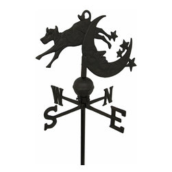 Zeckos - Cow Jumping Over Moon Cast Iron Weather Vane Garden Stake - And the cow jumped over the moon The fairytale comes to life in this fantastic cast iron weather vane garden stake depicting a brave cow effortlessly jumping over a starry crescent moon. Featuring a lovely rustic finish, this garden stake stands 37 inches (94 cm) high and is 12 inches (30 cm) in diameter while the cow and moon topper is 14 inches (36 cm) long. This decorative weather vane will add some whimsy to your garden, lawn or bed of blooms sure to be admired