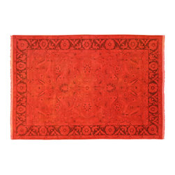 Manhattan Rugs - New Traditional Overdyed Red Floral Handmade Rug 8'x12' Hand Knotted Wool H3334 - This is a fine example of an Overdyed area rug. These rugs demonstrate a process best described as 'The modern palette applied to classics'. It consists of an added step to the finishing process in which the rug is antique washed, sheared, and finally hand dyed in a full immersion bath of a chosen color. The effect is quite stunning, adding a vibrant overcast to the whole rug and blending seamlessly with the prior dyes.