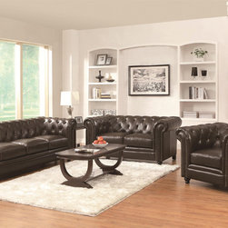 Coaster Furniture Roy Collection - The Roy collection is a timeless and traditional look that fits your price range. Inspired by a traditional classic, the Chippendale sofa, the pieces from the Roy collection display the same classic button-tufting and tall, shelter-style rolled arms.