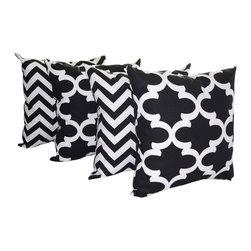Land of Pillows - Fynn Quartrefoil Moroccan and Zig Zag Chevron Black Set of 4 Throw Pillows 20x20 - Fabric Designer - Premier Prints