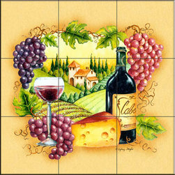 The Tile Mural Store (USA) - Tile Mural -  Wine Country  - Kitchen Backsplash Ideas - This beautiful artwork by S. Wright has been digitally reproduced for tiles and depicts a beautiful wine scene with grapes and cheese.    Our decorative tiles with wine are perfect to use for your kitchen backsplash tile project. A wine tile mural adds elegance and interest to your kitchen wall tile area and makes a wonderful kitchen backsplash idea. Pictures of wine on tiles and images of wines bottles on tiles and wine glasses on tiles is timeless and these decorative tiles of wine blend with any decor. Your kitchen will come to life with a tile mural featuring wine.
