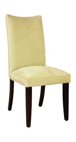 Standard Furniture - Standard Furniture La Jolla Parson's Chair in Yellow Velvet (Set of 2) - Parson's Chair in Yellow Velvet belongs to La Jolla collection by Standard Furniture. Add a taste of contemporary sophistication to your dining area with a pair of elegant dining chairs. Cherry color legs. Semi PU chairs are available in black or brown and velvet chairs are available in taupe, red, spa, green, and yellow colors.