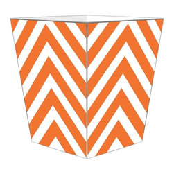 """Marye Kelley - Marye Kelley Orange Chevron Decoupage Wastebasket with Optional Tissue Box, 11"""" - This is a handmade decoupage wastebasket with optional tissue box.  All items are handmade in the USA.  There are three different styles available.  There is the 12"""" Fluted Tin Design, the 11"""" Square Design with a flat top or the 11"""" Square design with a scalloped top.  Coordinating tissue boxes may also be made. Please note all items are custom made and may not be returned."""