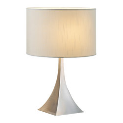 Adesso - Luxor Table Lamp - Each elegant pyramid shaped square steel base has a white silk-like fabric drum shade. Three-way rotary socket switch. Takes 100 Watt incandescent or three-way CFL bulb. 20.5 Height, 7 Square base.  Shade: 9 Height, 13.5 Diameter. Minimal assembly.