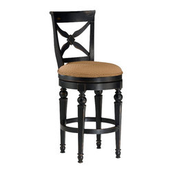 "Hillsdale - Hillsdale Northern Heights 26"" Swivel Counter Stool in Black and Honey - Hillsdale - Bar Stools - 4439826W - The Northern Heights swivel stools are graced with sophisticated French country inspired carved legs and accented with a versatile fabric seat. The backs have a criss-cross design that will enhance any formal or casual decor."