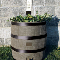 RTS Companies Inc - Round Rain Barrel with Planter - Deco - Embrace nature's solution to our emerging water shortage-collect rainwater! Our authentic oak barrel texture is molded into each barrel and will not fade, rot or risk insect infestation. The RTS Home Accents rain barrel has many unique features including a built in planter, linkable to other rain barrels for increased capacity, screen to keep out debris and insects, a shut off valve and hose hook up with dual overflow. 35 gallon capacity,Deco/Woodgrain