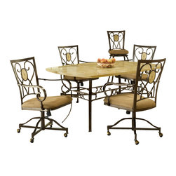 Hillsdale Furniture - Hillsdale Brookside 5-Piece Rectangle Dining Room Set w/ Oval Back Caster Chairs - Our Brookside dining collection features the lustrous depth and beauty of fossil stone and the classic effect of transitional designs. A thick patterned ivory colored fossil stone veneer graces the sturdy  metal bases on the dining table, bistro table and buffet. The caster chairs have a traditionally scrolled design which boasts an oval fossil stone motif and micro suede seat fabric for easy care and long lasting beauty.