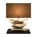 Scandinavian Design - Element Driftwood and Natural Stone Table Lamp - This Table Lamp add beauty and natural element to any room.