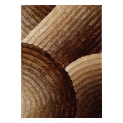 Rug - ~5 ft. x 7 ft. 3-D Gold  Brown Plush Living Room Shaggy Hand-tufted Area Rug - 3D SHAG COLLECTION