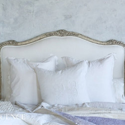 Eloquence Collection Sophia Headboard in Silver - Louis XV Corbeille style antique reproduction headboard. Beautifully hand finished in our Antique Silver and tufted in our snow cotton-linen fabric.