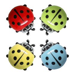 Ladybug - The Suction Cup Container, Set - you're always looking for some place to store your toothbrush that is out of the way but still easily accessible. well look no further! this adorable ladybug container has suction cups that grip to any slick surface, like a mirror or shower wall. this little guy's shell is a great place to store all you toothbrushes, bottle, and whatever else you need!
