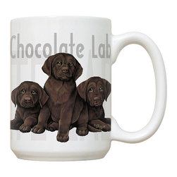 290-Chocolate Lab Puppies Mug - 15 oz. Ceramic Mug. Dishwasher and microwave safe It has a large handle that's easy to hold.  Makes a great gift!