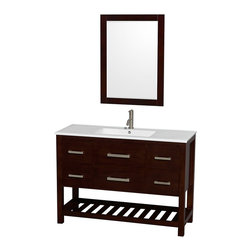 "Wyndham Collection - 48"" Natalie Single Bathroom Vanity w/ White Porcelain Countertop & 24"" Mirror - Classic yet elegantly modern, the Natalie bathroom vanity is a bold statement and a meaningful centerpiece for any bathroom. Inspired by the contemporary American design ethic and crafted without compromise, these vanities are designed to complement any decor, from traditional to minimalist modern."