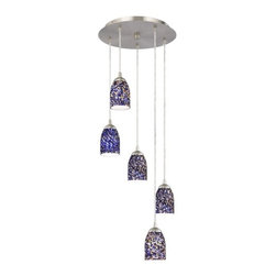 Design Classics Lighting - Modern Multi-Light Pendant Light with Blue Glass and 5-Lights - 580-09 GL1009D - Contemporary / modern satin nickel 5-light mini-pendant light. Includes one satin nickel five port ceiling canopy. Each mini-pendant comes with 7-feet of clear cuttable cord that allows for custom height adjustability for each pendant. Takes (5) 100-watt incandescent A19 bulb(s). Bulb(s) sold separately. UL listed. Dry location rated.