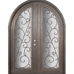 "Bellagio 72x96 Round Top Forged Iron Double Door 14 Gauge Steel - ""SKU#    PHBFLRTDR4Brand    GlassCraftDoor Type    ExteriorManufacturer Collection    Buffalo Forge Steel DoorsDoor Model    BellagioDoor Material    SteelWoodgrain    Veneer    Price    8665Door Size Options      $Core Type    one-piece roll-formed 14 gauge steel doors are foam filled  Door Style    Round TopDoor Lite Style    Radius Lite , Full LiteDoor Panel Style    Home Style Matching    Mediterranean , Victorian , Bay and Gable , Plantation , Cape Cod , Gulf Coast , ColonialDoor Construction    Prehanging Options    PrehungPrehung Configuration    Double DoorDoor Thickness (Inches)    1.5Glass Thickness (Inches)    Glass Type    Double GlazedGlass Caming    Glass Features    Insulated , TemperedGlass Style    Glass Texture    Clear , Glue Chip , RainGlass Obscurity    Door Features    Door Approvals    Wind-load RatedDoor Finishes    Three coat painting process"