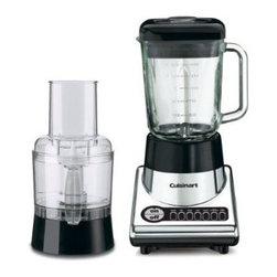 Cuisinart - 7-Speed Blender / Food Processor - Features: -500-Watt countertop blender with 3-cup food-processor attachment.-7 Preprogrammed speeds for versatility.-Oversized ''on / off'' switch.-Feed tube and pusher.-Slicing / shredding disc.-Chopping blade.-56-Ounce glass jar.-LED indicators.-Cord storage.-Dishwasher-safe parts.-Distressed: No.Dimensions: -15.5'' H x 6.8'' W x 8.4'' D, 12.8 lbs.-Overall Product Weight: 12.8 lbs.