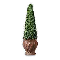 Improvements - Square Cone Artificial Topiary - 36'' - Faux topiary features densely packed leaves in an elegant cone shape. Square Cone Artificial Topiary offers a lovely natural look without the work. Long-lasting faux topiary is weather-resistant and easy to move. Use our Square Cone Artificial Topiary to add elegance by your front door, on a deck, or in any room of your home. With its mini tea leaf foliage in an architectural design, this faux topiary looks amazingly natural, even up close. This Square Cone Artificial Topiary offers densely packed leaves on a sturdy wire frame, plus it's weather-resistant and long lasting. Use the Square Cone Artificial Topiary outdoors or in; just place the weighted plastic pot inside your own decorative planter. The thick leaf polyethylene construction makes our artificial topiary look so realistic, you'll want to water it. The Square Cone Artificial Topiary never needs trimming, and you won't have to worry about leaves turning brown and falling off! NOTE: Urn planter shown at left is sold separately. Benefits of the Square Cone Artificial Topiary:    Looking for a different style? Check our complete selection of Topiaries & Artificial Plants.