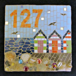 Decorative House Number Mosaic by Handmade by Hippo - I love this piece for a beach house or nautical-style home. It's handmade and full of color!