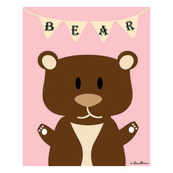 Oh How Cute Kids by Serena Bowman - Mod Bear in Pink, Ready To Hang Canvas Kid's Wall Decor, 11 X 14 - Each kid is unique in his/her own way, so why shouldn't their wall decor be as well! With our extensive selection of canvas wall art for kids, from princesses to spaceships, from cowboys to traveling girls, we'll help you find that perfect piece for your special one.  Or you can fill the entire room with our imaginative art; every canvas is part of a coordinated series, an easy way to provide a complete and unified look for any room.