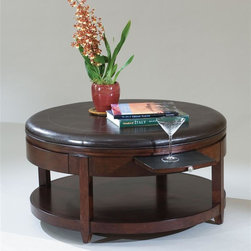Magnussen Furniture - Round Cocktail Table w Casters - Brunswick - 38 in. W x 38 in. D x 19 in. H