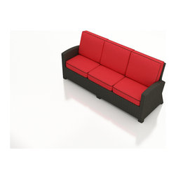 Forever Patio - Barbados Outdoor Wicker Sofa, Flagship Ruby Cushions - Enjoy outdoor seating for 3 with the modern look and luxurious comfort of the Forever Patio Barbados Modern Patio Sofa with Red Sunbrella cushions (SKU FP-BAR-S-EB-FB). The UV-protected, ebony-colored resin wicker sports a flat woven design, creating a contemporary look with clean lines. Each strand of this outdoor wicker is made from High-Density Polyethylene (HDPE) and is infused with its rich color and UV-inhibitors that prevent cracking, chipping and fading ordinarily caused by sunlight. This outdoor sofa is supported by thick-gauged, powder-coated aluminum frames that make it more durable than natural rattan. This sofa includes fade- and mildew-resistant Sunbrella cushions for added comfort in your outdoor space.