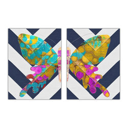 "Chooty - Set of 2 Abstract Navy And White Butterflies 18x24 Canvas Wrapped Art - 18x24  2"" Canvas Wrapped Art.   Our canvas is of high quality and manufactured to meet your need of high gloss finish canvas. The inks are formulated to give the colors that glow and brightness to ensure your satisfaction. Each image is UV coated to help with any direct light onto the image."