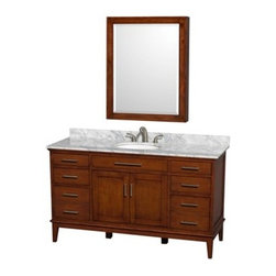 "Wyndham Collection(R) - Hatton 60"" Single Bathroom Vanity by Wyndham Collection - Light Chestnut - The Wyndham Collection is an entirely unique and innovative bath line. Sure to inspire imitators, the original Wyndham Collection sets new standards for design and construction.Bring a feeling of texture and depth to your bath with the gorgeous Hatton vanity series - hand finished in warm shades of Dark or Light Chestnut, with brushed chrome or optional antique bronze accents. A contemporary classic for the most discerning of customers.Available in multiple sizes and finishes.FeaturesConstructed of environmentally friendly, zero emissions solid Birch hardwood, engineered to prevent warping and last a lifetime12-stage wood preparation, sanding, painting and hand-finishing processHighly water-resistant low V.O.C. sealed finishBeautiful transitional styling that compliments any bathroomPractical Floor-Standing DesignMinimal assembly requiredDeep Doweled DrawersFully-extending under-mount soft-close drawer slidesConcealed soft-close door hingesCounter options include Ivory Marble and White Carrera Marble Counter includes 3"" backsplashAvailable with Porcelain undermount sink(s)Oval sink(s) available with pre-drilled 8"" Widespread 3-Hole faucet mountsSquare sink(s) available with pre-drilled Single-Hole faucet mounts. Additional holes may be drilled by customer on site.Faucet(s) not includedMetal exterior hardware with brushed chrome finishOptional metal exterior hardware with antique bronze finishTwo (2) functional doorsSix (6) functional drawersPlenty of storage spaceVariations in the shading and grain of our natural stone products enhance the individuality of your vanity and ensure that it will be truly uniquePlenty of counter spaceHow to handle your counterSpec Sheet for VanityInstallation Guide Spec Sheet for 44"" Mirror Spec Sheet for 56"" Mirror Spec Sheet for Medicine Cabinet Installation Guide for Medicine Cabinets Spec Sheet for Linen Tower Natural stone like marble and granite, while otherwise durable, are vulnerable to staining from hair dye, ink, tea, coffee, oily materials such as hand cream or milk, and can be etched by acidic substances such as alcohol and soft drinks. Please protect your sink by avoiding contact with these substances. For more information, please review our ""Marble & Granite Care"" guide."