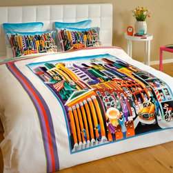 """ARTnBED - Funky Duvet Cover - """"My New-York"""" - NY is the city that never sleeps. But you will! Enjoy a good night's sleep covered with this duvet cover featuring the large digital print of the painting """"My New-York"""" by the artist Yuval Mahler."""