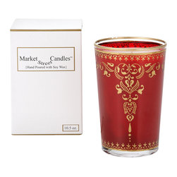 Market Street Candles - Red Henna Moroccan Candle - Our signature imported Moroccan tea glass, hand poured with soy wax in the USA, is packaged in a decorative gift box, making it the perfect gift just as they are!