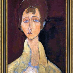 """Art MegaMart - Amedeo Modigliani Woman in White Coat - 18"""" x 27"""" Framed Premium Canvas Print - 18"""" x 27"""" Amedeo Modigliani Woman in White Coat framed premium canvas print reproduced to meet museum quality standards. Our Museum quality canvas prints are produced using high-precision print technology for a more accurate reproduction printed on high quality canvas with fade-resistant, archival inks. Our progressive business model allows us to offer works of art to you at the best wholesale pricing, significantly less than art gallery prices, affordable to all. This artwork is hand stretched onto wooden stretcher bars, then mounted into our 3 3/4"""" wide gold finish frame with black panel by one of our expert framers. Our framed canvas print comes with hardware, ready to hang on your wall.  We present a comprehensive collection of exceptional canvas art reproductions by Amedeo Modigliani."""