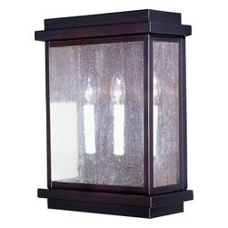 Maxim Lighting - Maxim Lighting Cubes Transitional Outdoor Wall Sconce X-UBDC0564 - Clean lines give a subtle modern feel to the classic look of this Maxim Lighting outdoor wall sconce. From the Cubes Collection, it features sturdy aluminum construction that has been finished in a warm toned Burnished finish. For added traditional appeal, it features stylish candelabra style lights behind beautiful seedy glass panels.