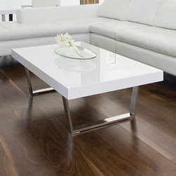 Pangea Home - Liana Coffee Table - Rectangular coffee table with high polished metal legs. Features: -Wood veneer and high polished metal legs.-Liana collection.-Collection: Liana.-Distressed: No.-Style: Modern.-Base Finish: High polished metal.-Powder Coated Finish: No.-Wrought Iron: No.-Top Material: Manufactured Wood.-Base Material: High polished metal.-Solid Wood Construction: No.-Reclaimed Wood: No.-Design: Table.-Drop Leaf: No.-Shape: Rectangle.-Lift Top: No.-Tray Top: No.-Storage Under Tabletop: No.-Folding: No.-Magazine Rack: No.-Built In Clock: No.-Powered: No.-Nested Stools Included: No.-Legs Included: Yes -Number of Legs: 2..-Casters: No.-Exterior Shelves: No.-Cabinets Included: No.-Drawers Included: No.-Corner Block: No.-Cable Management: No.-Adjustable Height: No.-Glass Component: No.-Upholstered: No.-Outdoor Use: No.-Swatch Available: No.-Commercial Use: Yes.-Recycled Content: No.-Eco-Friendly: No.-Product Care: Wipe with damp cloth.-Gloss Finish (Finish: Walnut): No.-Gloss Finish (Finish: White): Yes.Dimensions: -Overall Product Weight: 50.-Overall Height - Top to Bottom: 15.-Overall Width - Side to Side: 53.-Overall Depth - Front to Back: 28.-Width When Fully Extended: No.-Table Top Width - Side to Side: 53.-Table Top Depth - Front to Back: 28.-Legs: Yes.Assembly: -Assembly Required: Yes.-Additional Parts Required: No.