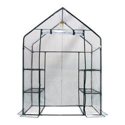 "oGrow - oGrow® Deluxe Walk-In 3 Tier 6 Shelf Portable Greenhouse - Any garden can accommodate this Ogrow 77"" H x 56"" W x 29"" D Mini Walk-In Greenhouse with a total of 6 shelves of planting area! Some of the exclusive features it has to offer includes heavy duty sturdy steel frame. Strong durable clear cover manufactured from heavy duty material. Comes with Hook and Loop connection vs. ties for quick and easy assembly and a stronger, longer lasting life span. Strong and durable powder coated shelving will hold your heavy plantings off the ground, yet allow plenty of room for growth. Roll up cover for easy access, ventilation, and moisture control. Walk-In for easy access to your plantings. Designed with special heavy duty high quality plastic connectors for easy assembly. With all this, it will undoubtedly protect your plants from too much heat or cold, shield plants from dust and gale, and help to keep pests out!"