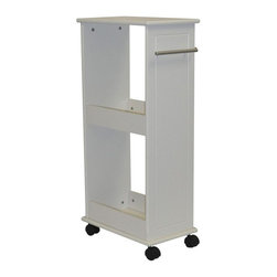 "Sourcing Solutions, Inc. - Rolling Side Cabinet w/Shelves, White - Add extra storage space with this convenient bath shelf from RiverRidge®Home.  Complete with two shelves; Utilize top shelf for additional storage.  Stores out of the way at the end of the counter or against the wall.  Satin finish pull handle may also be used as a towel bar for hand towel or wash cloth.  Four, Smooth rolling wheels- Two wheels lock in place.  Rolling bath shelf is 32.5"" High.  Easy Assembly."