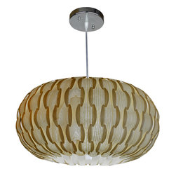OAKLAMP - Wood Pendant Lamp (Ceiling Lighting), OP1005L-AH - The first photo shows what the lamp looks like when illuminated. The second photo shows what the lamp looks like when turned off.