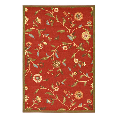 None - Dark Red Floral Garden Design Non-skid Area Rug (5' x 6'6) - This casual,classic rug can fit any home decor. Features a gorgeous floral design and non-skid backing.