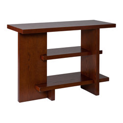 Holly & Martin - Edingham Console, Espresso - This sleek little sofa table performs a continuous balancing act with its clever puzzle-like design. As functional as a mini bookshelf as it is a flat screen TV stand, this skinny little table looks good doing any job.