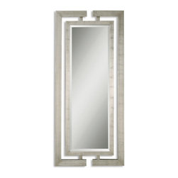 """Uttermost - Uttermost 14097 B  Jamal Silver Mirror - This stately mirror features dual wooden frames attached at the top and bottom with a scratched silver leaf finish.  frames have open detail for wall color to show thru. mirror has a generous 1 1/4"""" bevel."""