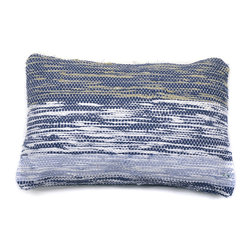 re:loom - re:loom Handwoven Small Pillow, White/Blue/Gray - *PRODUCT DESCRIPTION