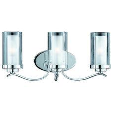 Contemporary Bathroom Vanity Lighting Triarch 25243 Cylindique Chrome 3 Light Vanity